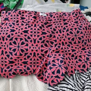 Crown and Ivy Coral and Navy shorts